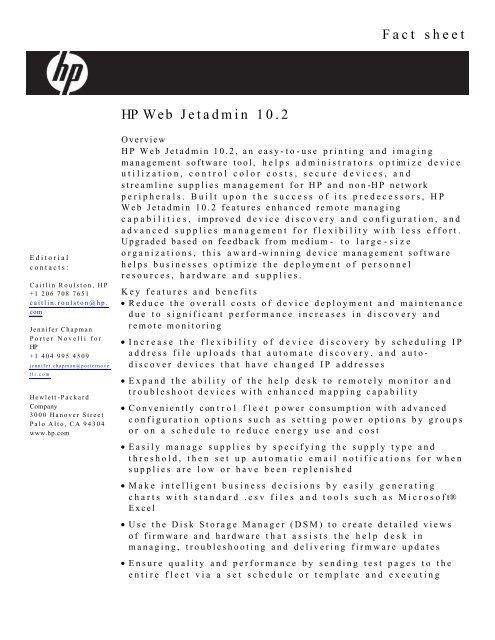 Web Jetadmin Fact Sheet- FINAL - Large Enterprise Business - HP