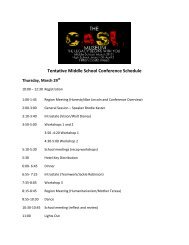 Tentative Middle School Conference Schedule - CADA