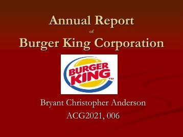Annual Report Burger King Corporation