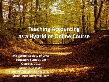 Teaching Accounting as a Blended, Hybrid, or Online Course
