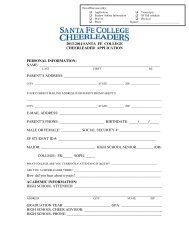 2013-2014 SANTA FE COLLEGE CHEERLEADER APPLICATION ...