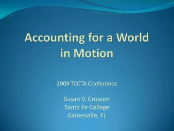 Accounting for a World in Motion - Santa Fe College
