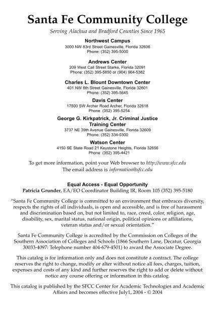 Ccsf Academic Calendar 2022.Santa Fe Community College Catalog 2004 2005 Santa Fe College