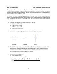 1 MAC1105, College Algebra Study Questions for Common Final ...
