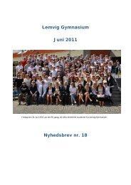Lemvig Gymnasium Juni 2011 Nyhedsbrev nr. 18