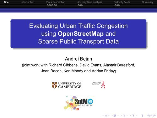 Evaluating Urban Traffic Congestion using OpenStreetMap and