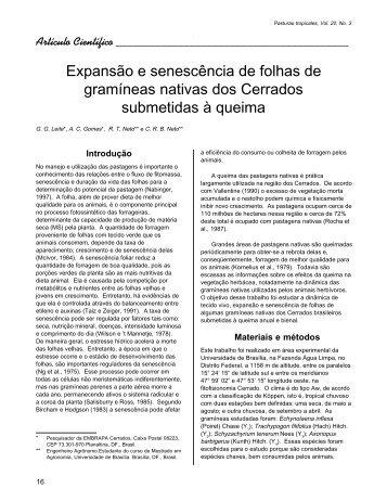 Expansão e senescência de folhas de gramíneas nativas dos ...
