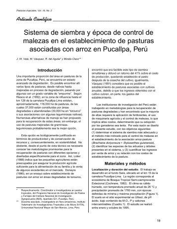 Sistema de siembra y época de control de malezas en el ...