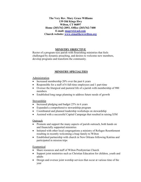 Mary Williams Resume pdf - Yale Divinity School