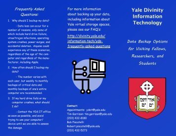 Yale Divinity Information Technology - Yale Divinity School