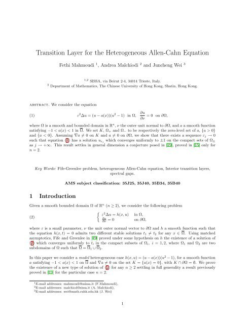 Transition layer for the heterogeneous Allen-Cahn equation