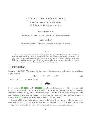 Asymptotic behavior of ground states of quasilinear elliptic problems ...