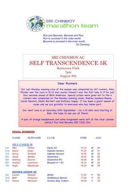Self Transcendence 5K - Sri Chinmoy Athletic Club UK