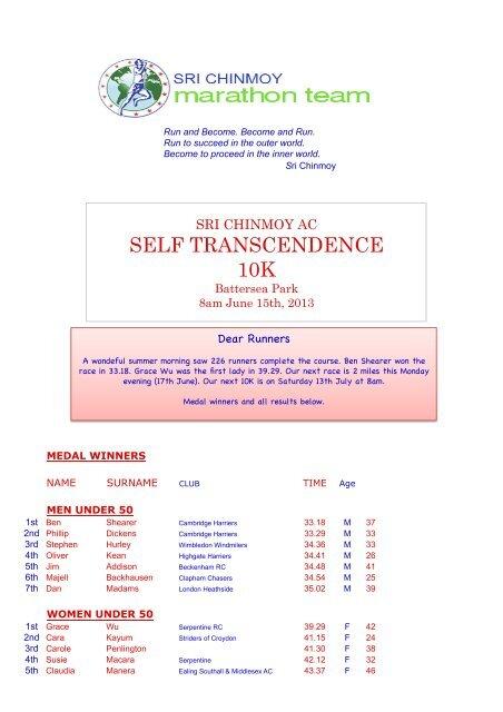 SELF TRANSCENDENCE 10K - Sri Chinmoy Athletic Club UK