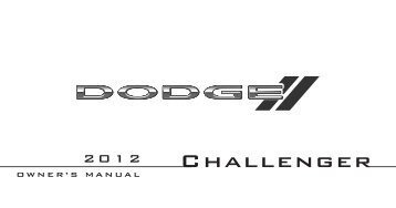 2012 Dodge Challenger Owner's Manual