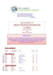 Saturday 2nd March - Sri Chinmoy Athletic Club UK