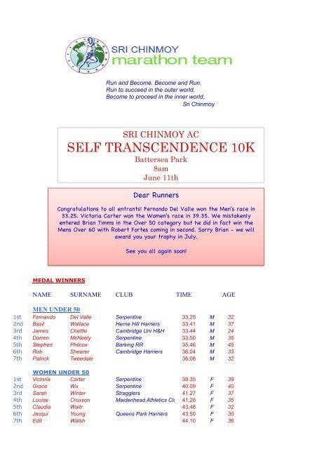 10K 11-6 Final Results - Sri Chinmoy Athletic Club UK