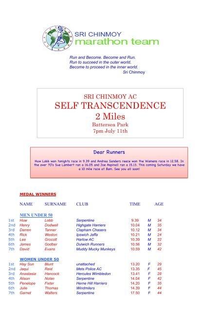 Self Transcendence 2 Miles - Sri Chinmoy Athletic Club UK