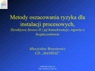 Metody oszacowania ryzyka dla instalacji procesowych ... - MANHAZ