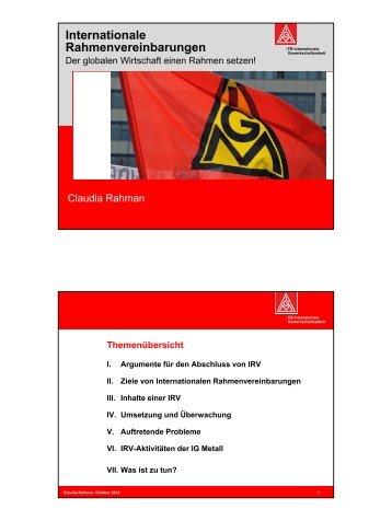 Internationale Rahmenvereinbarungen (Claudia Rahman ... - Pasoc