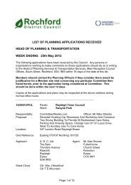 Weekly List of PLanning Application - Rochford District Council