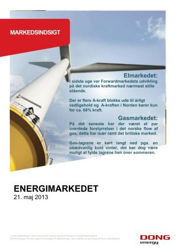 Markedsindsigt 21. Maj 2013 - DONG Energy