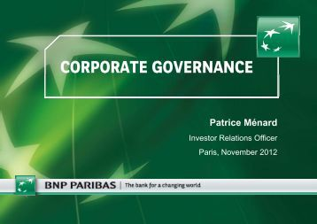 CORPORATE GOVERNANCE - BNP Paribas