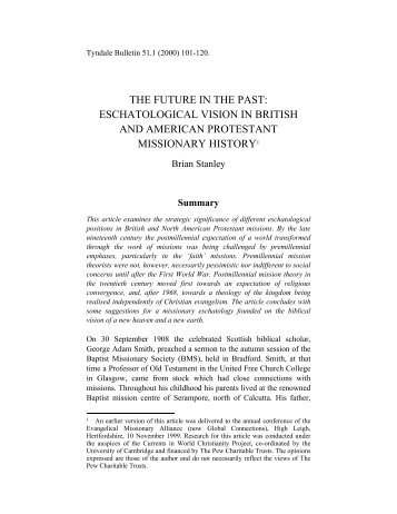 THE FUTURE IN THE PAST: ESCHATOLOGICAL ... - Tyndale House