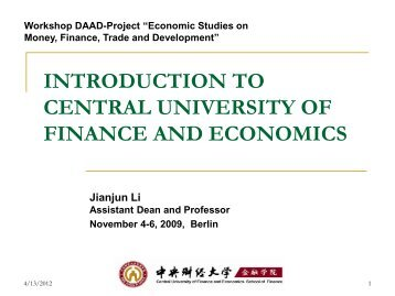 CUFE (Central University of Finance and Economics) - DAAD ...