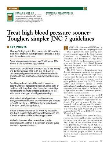 Treat high blood pressure sooner: Tougher, simpler JNC 7 guidelines