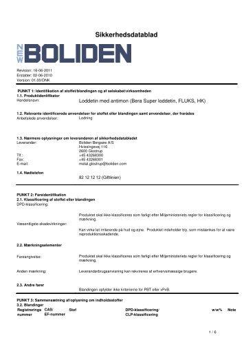 Loddetin med antimon - Boliden Bergsøe A/S