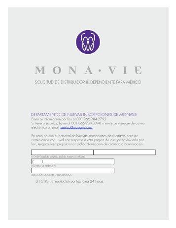 solicitud de distribuidor independiente para méxico - MonaVie