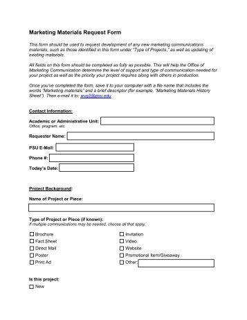 Marketing Activity Request Form