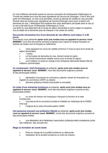 Un Visa D Affaires Demande Aupres Du Service Ahk Tunesien