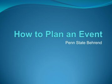 How to Plan an Event - Penn State Erie