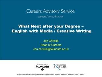 What Next - Careers Advisory Service - University College Falmouth