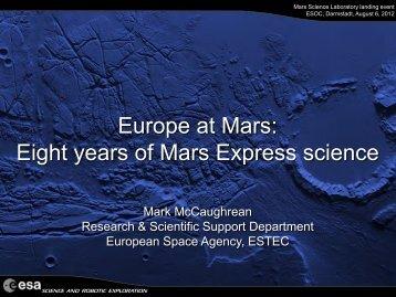 Mars Express Science Presentation - ESA M. MCCaughrean (PDF)