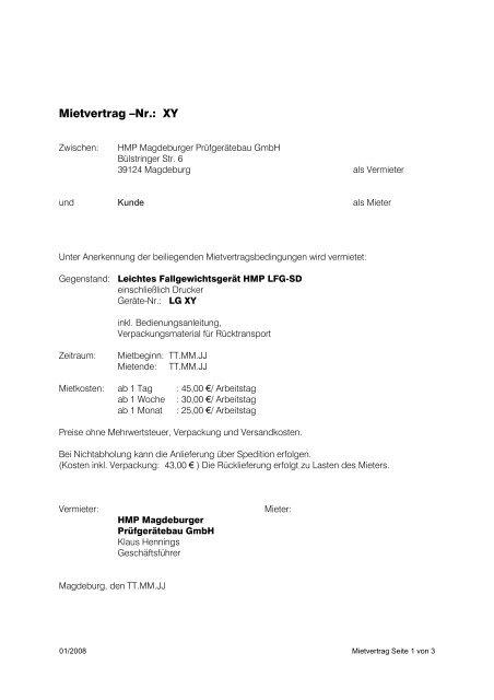 Mietvertrag Nr Xy Hmp Magdeburger Prüfgerätebau Gmbh