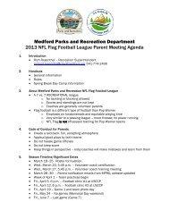 Flag Football parent meeting agenda - Medford Parks & Recreation
