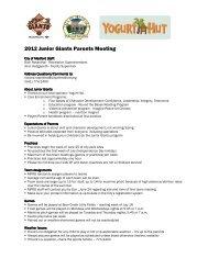 2012 Junior Giants Parents Meeting - Medford Parks & Recreation