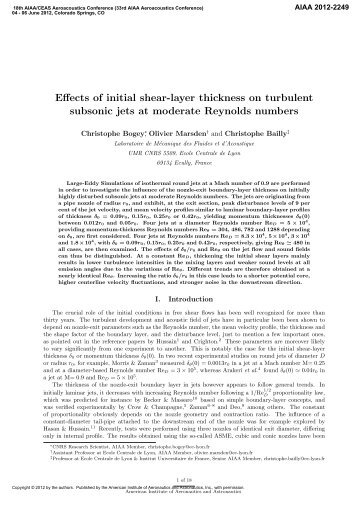 Effects of initial shear-layer thickness on turbulent subsonic jets at ...