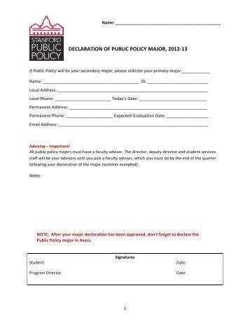 Major Declaration Form