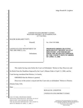Proposed Order Granting Motion to Stay Discovery - The DADT ...