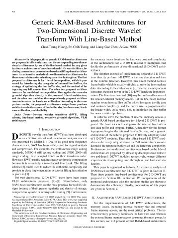 Generic RAM-Based Architectures for Two-Dimensional Discrete ...