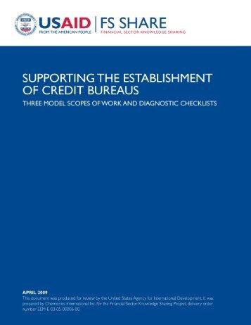 Supporting the Establishment of Credit Bureaus - Economic Growth