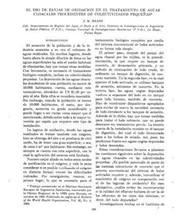 EL USO DE ZANJAS DE OXIDACION EN EL ... - PAHO/WHO
