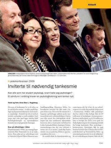 Inviterte til nødvendig tankesmie - Tidsskrift for Norsk Psykologforening