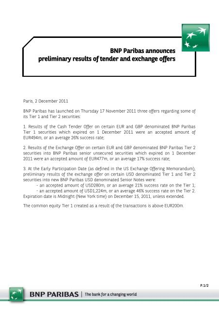 Press Release on Preliminary Results of the ... - BNP Paribas