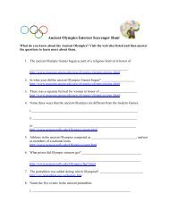 Ancient Olympics Internet Scavenger Hunt