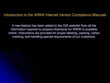 Introduction to the WWW Internet Vendor Compliance Manuals
